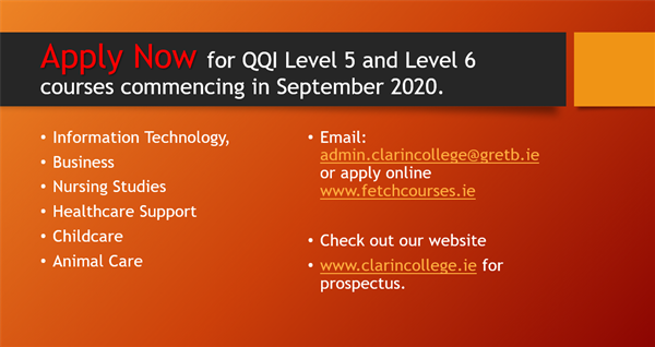 Apply Now for QQI Level 5 and Level 6 courses commencing in September 2020.