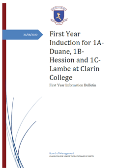 1A-Duane, 1B-Hession and 1C-Lambe Induction Programme