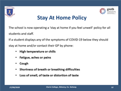 Clarin College Stay at Home Policy